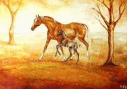 mare with foal in autumn